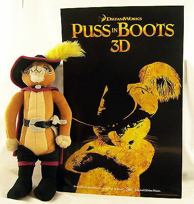 """PUSS In BOOTS Shrek 2, Stuffed Toy Doll Velour 12"""" Cat & 17"""" By 11"""" Movie Poster"""