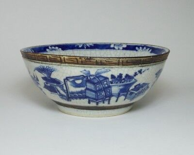 Antique / vintage Chinese blue and white crackle glazed porcelain bowl.