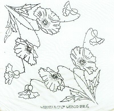 Vintage iron on embroidery transfer poppy flower,poppies webco,webber and co 226