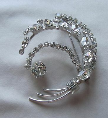 Vintage silver tone unsigned bouquet brooch with rhinestones
