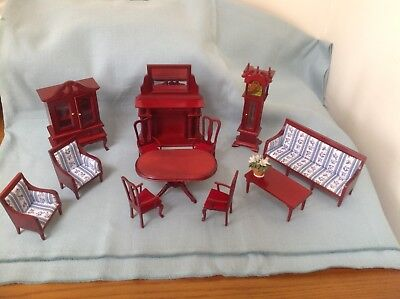 Job Lot Dolls House Furniture. Dining Room, Lounge 12th scale Mahogany