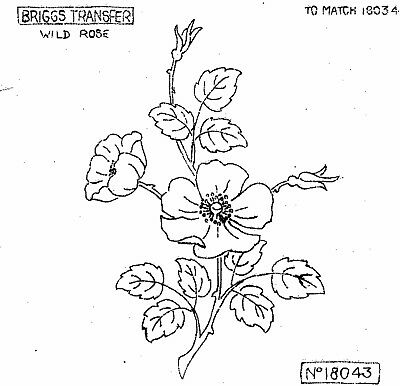 Vintage iron on embroidery transfer wild rose flowers Briggs Transfers 10834