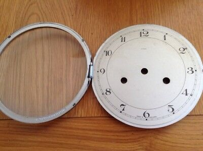 "Original Vintage ENFILED Mantel Clock Front Door Glass & Face 6 1/4"" Diameter"