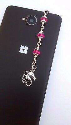Phone Charm Unicorn Hot Pink Beads Dust Plug for Tablets & iPads with Gift Bag