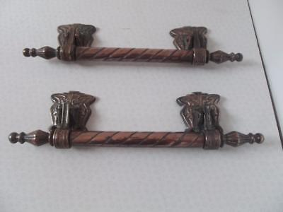 Pair antique French bronze Nickel plated château door pull knocker handles 35cm