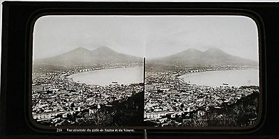 VINTAGE GLASS STEREO view 1860s NEAPEL by Ferrier & Soulier Paris Italy Italien