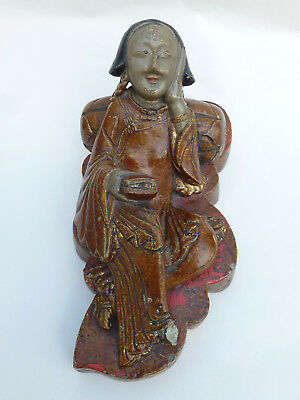 Antique Chinese 17th/18th Century Carved  Lacquered Hardstone Figure Lady SIGNED