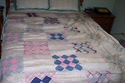 Vintage Quilt Top Great Old Fabric Machine and Hand-Stitched