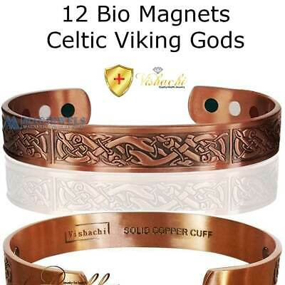 12 Max Magnetic Solid Pure Copper Celtic Viking God Bangle/bracelet Cb29V