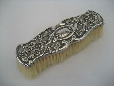 ART NOUVEAU CLOTHES BRUSH WITH SOLID SILVER TOP - Chester, 1909