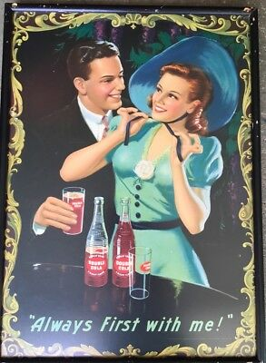 Vintage Double Cola Framed Always First with Me Advertising-Print Sign
