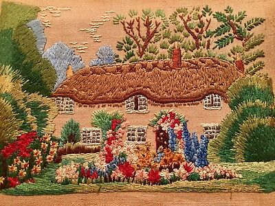 Antique Hand Embroidered Picture