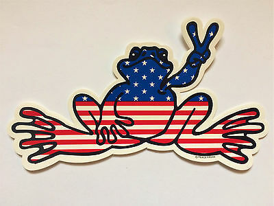 """Peace Frogs American Flag Sticker  - 6"""" x 3"""" - High Quality Vinyl - Made in USA"""