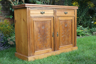 Victorian Antique Sideboard. 2 Drawers & Cupboard Doors with floral carving