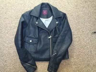 Next Navy Blue Biker Jacket Leather Look Size 12 With Lining