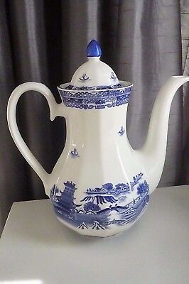 Vintage Ringtons Large 2¾ Pint 'willow' Pattern Coffee Pot By Wade Ceramics- Vgc
