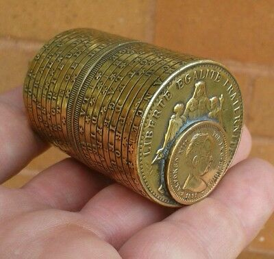 "Unusual Antique Novelty Victorian ""5 Franc 1886"" Stacked Coin Box / Snuff Box.."