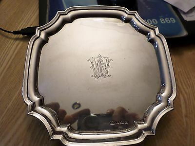 Viners sterling silver card tray 320g  Sheffield 1940