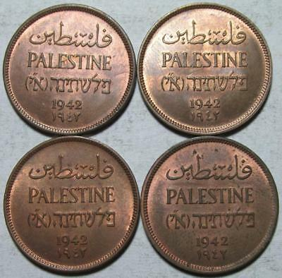 Palestine, Mils, 1942, Uncirculated, 4 Pieces, Some Luster, Bronze
