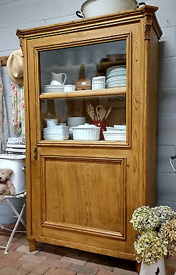 OLD PINE LINEN CUPBOARD Kitchen Cabinet PINE DISPLAY CABINET China Cabinet