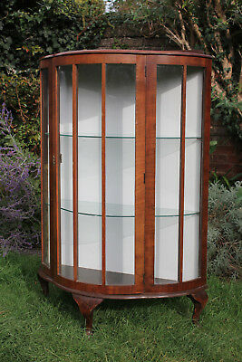 Vintage Bow Front Display Cabinet with Glass Shelves & Queen Anne Feet