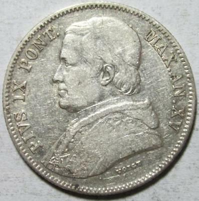 Papal States, 20 Baiocchi 1860 XVR, Very Fine, Pius IX, .147 Ounce Silver