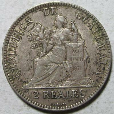 Guatemala, 2 Reales, 1895H, Extra Fine, Nice Detail, .1664 Ounce Silver