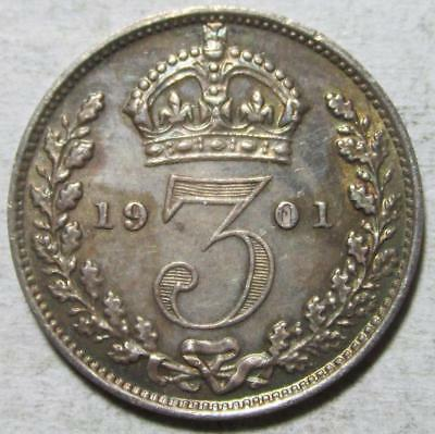 Great Britain, 3 Pence, 1901, Toned Almost Uncirculated, .042 Ounce Silver