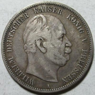 Prussia, Germany, 5 Mark, 1876A, Fine, .8037 Ounce Silver