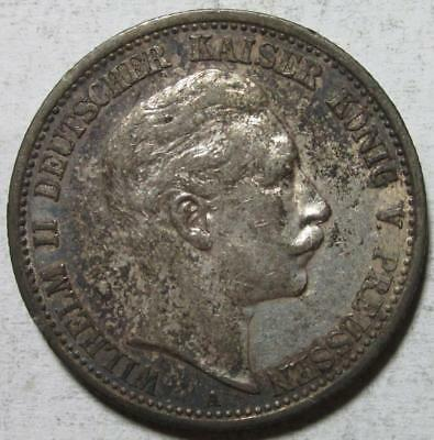 Prussia, Germany, 2 Mark, 1907A, Toned Extra Fine, .3215 Ounce Silver