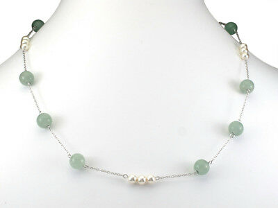 28 in - 925 Sterling Silver Aventurine and Crystal Pearl Station Necklace