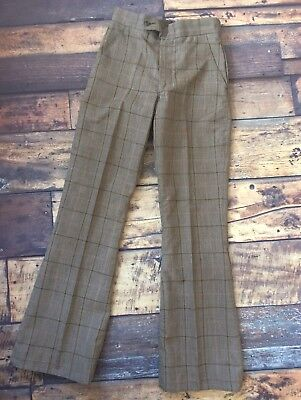 Vintage 1970's NEW Checked Trousers Flares Boys Green 170 Age 12-16?