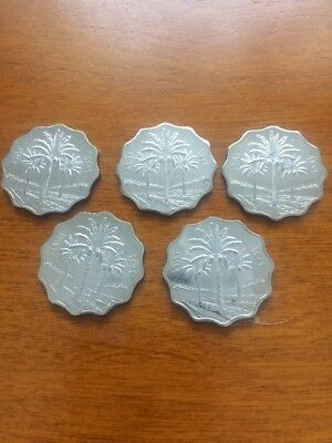 IRAQ 1981 5 Fils coin BU LOT of 5