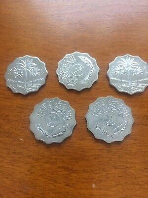 IRAQ 1981 5 Fils coin BU LOT of 5 Coins