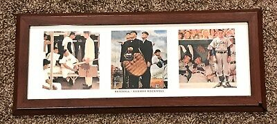 "Framed Norman Rockwell ""baseball"" Panoramic The Saturday Evening Post Print"