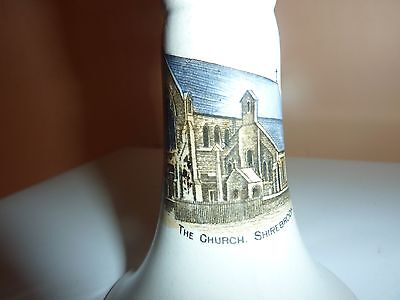 British Made Pottery Candlestick With Pictorial Image Of Shirebrook Church