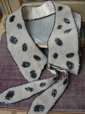 Beautiful hand beaded vintage French 1920s collar dress embellishment