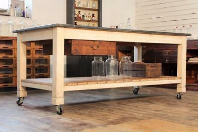 Large Zinc Top Bakers Table Kitchen Island/Workbench/Butchers Block Vintage