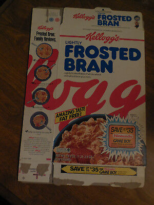 NINTENDO GAME BOY 1993 Kellogg's Lightly Frosted Bran Cereal Box EMPTY
