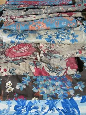 Bundle 11 larger panels 18th & 19thC antique French printed cotton fabric quilts