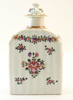 c1780, ANTIQUE 18thC QIANLONG CHINESE PORCELAIN FAMILLE ROSE RIBBED TEA CADDY
