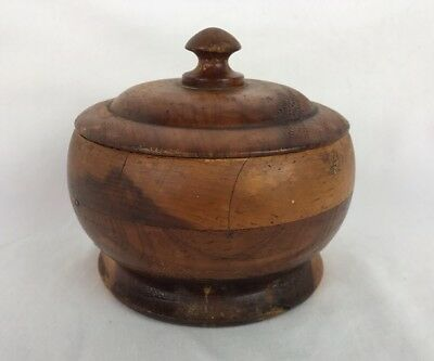 """Turned Hardwood Bowl With Lid Wooden Ware Artisan Craft 5"""" x 5"""""""