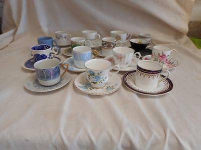 Vintage Lot 15 Demitasse Tea Cups & Saucers Fine Porcelain Bone China Sets