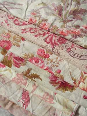 Bundle 12 large panels antique French 19thC printed cotton cabbage roses quilts