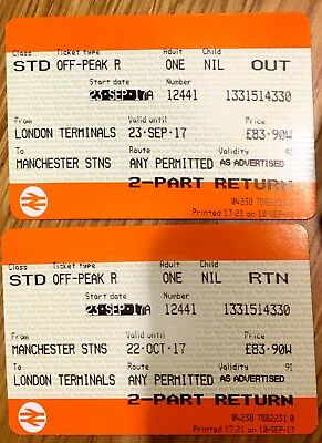 London to Manchester by train with open return x 1 adult