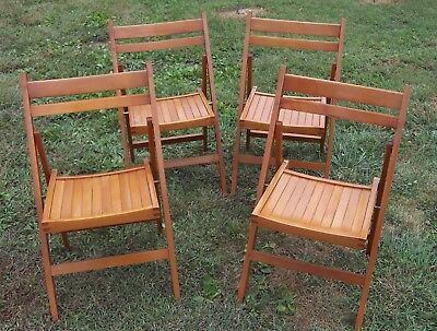 Exc Condition! Four Vintage Maple Wood Folding Chairs Made In Romania Very Nice!