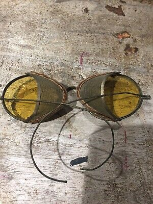 Antique Vintage Safety Glasses Yellow Lens 1940's