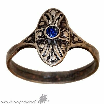 Vintage Greek Solid Silver Ring With Nice Blue Stone And Cross In Bezel