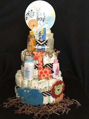 Baby Boy Safari Zoo Animals Diaper Cake 3 Tier Johnsons Giraffe Lion Elephant