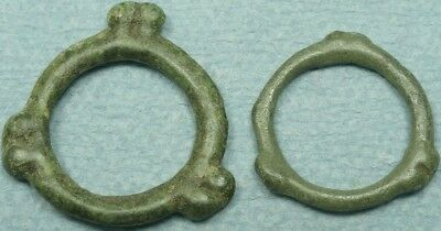 Lot Of 2 Celtic Bronze Proto-Money Artifacts, Knobbed Rings